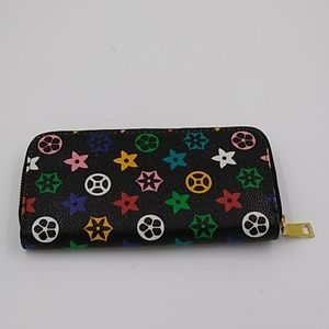 Colorful Vegan Leather Zip Around Wallet